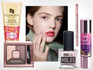 Kosmetyki w kolorze różowego złota - błyszczący makijaż